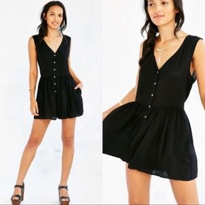 Womens Urban Outfitters Black Button Front Romper